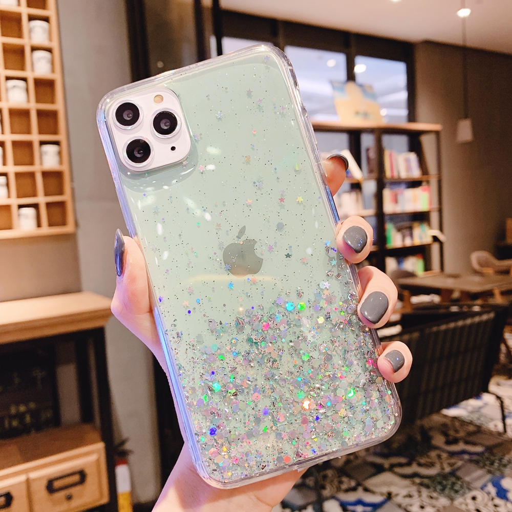 H156fe93a7f0647209d320b0b760b8cfcd - Solid quicks Case For iphone 11 8 7 Plus 6 6s Glitter Bling Sequins Epoxy Star Case For iphone 11 Pro MAX X XR XS Soft TPU Cover