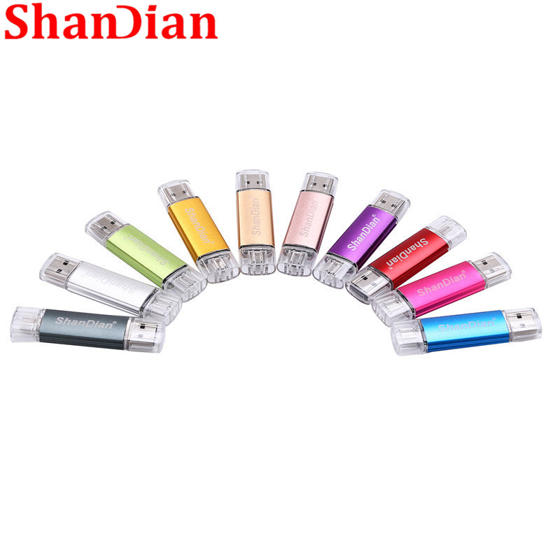 SHANDIAN 100% Actual Capacity OTG High Speed Drive 32G/16G 8G 4G External Storage Double Application Usb 2.0 Flash Card U Disk