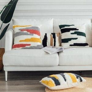 Funda de cojín de tejido de algodón, funda de almohada de Color Absract de estilo marroquí hecha a mano para decoración del hogar, sofá cama de 45x4 5cm/30x50cm
