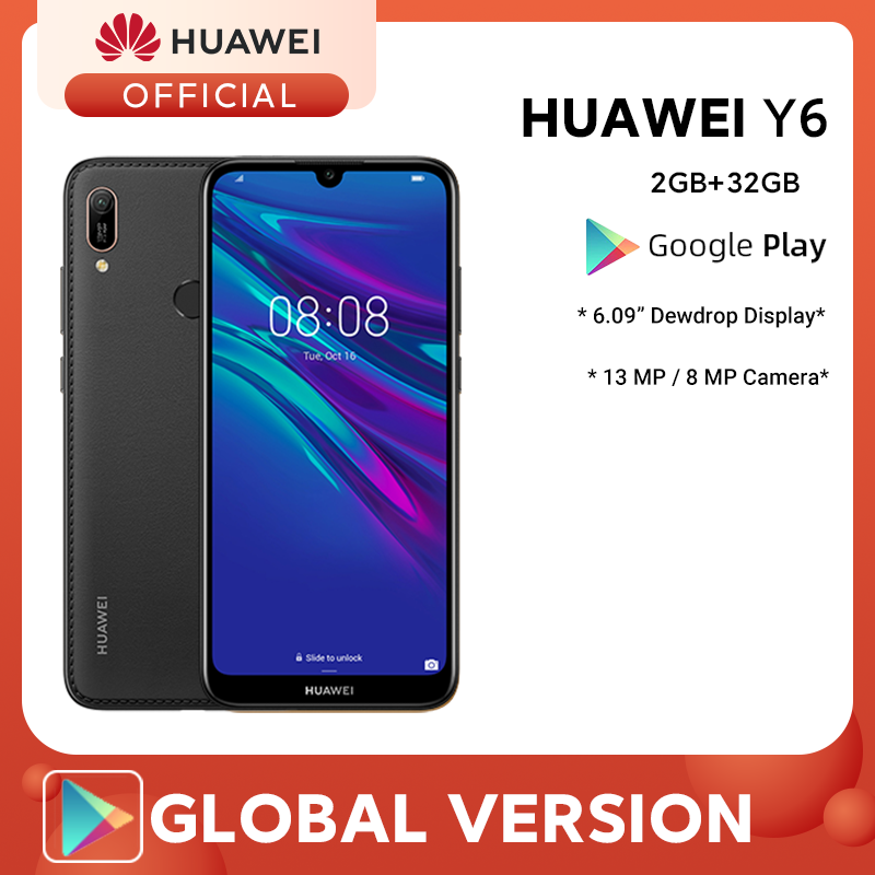 "Global Version HUAWEI Y6 2019 SmartPhone 2GB 32GB 6.09"" MT6761 Quad Core 13MP Rear Camera Face Fingerprint Unlock Mobile Phones