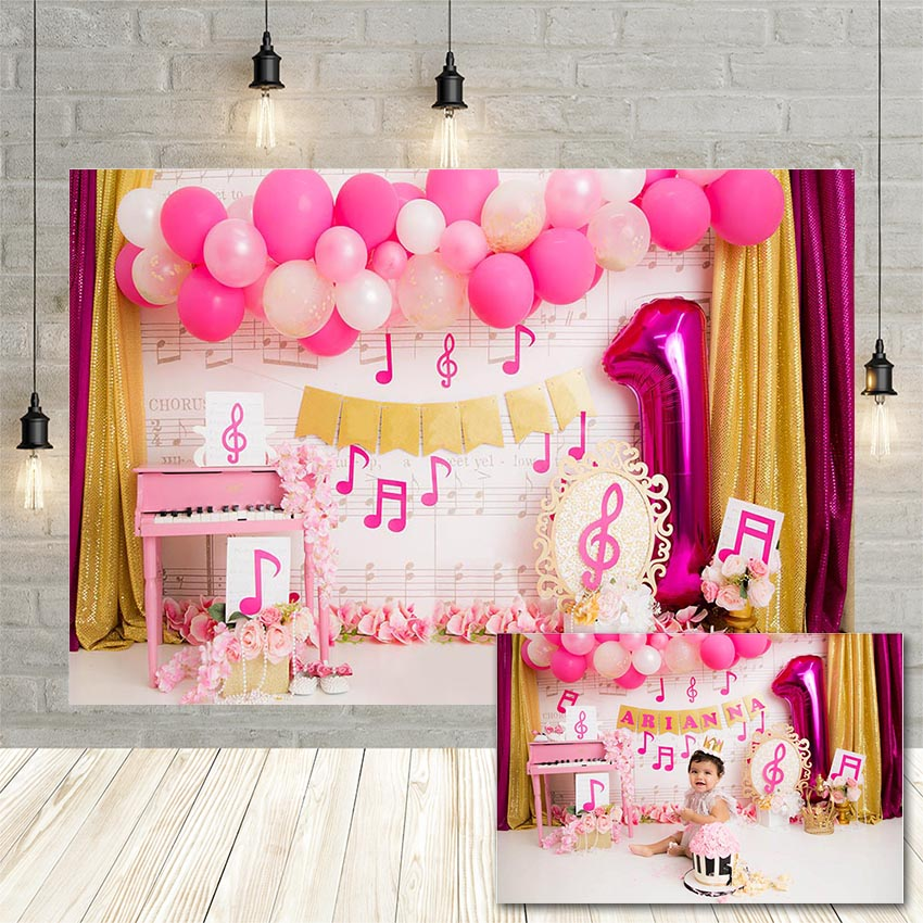 Avezano Girl 1st Birthday Photography Background Pink Balloon Music Symbol Flower Baby Portrait Backdrop Photophone Photo Studio