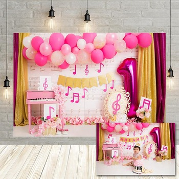 Avezano Girl 1st Birthday Photography Background Pink Balloon Music Symbol Flower Baby Portrait Backdrop Photophone Photo Studio - discount item  43% OFF Camera & Photo