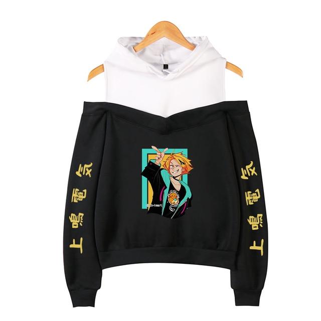 My Hero Academia Hoodies Female Off Shoulder Sweatshirt Women's Pullover Harajuku Streetwear Denki Kaminari 2021 Anime Clothes 2