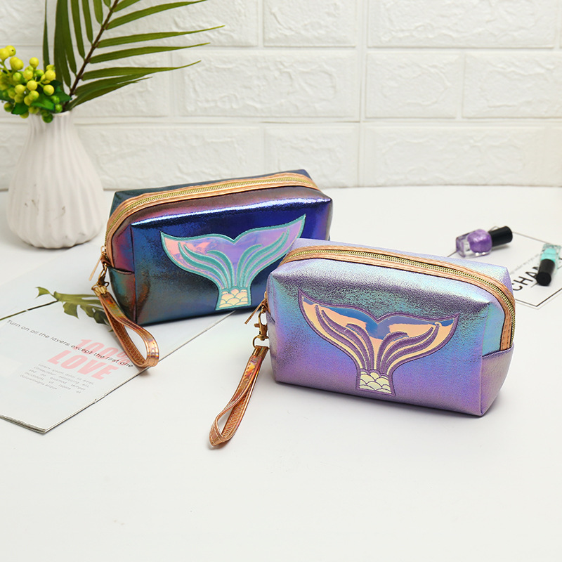 Women Makeup Bag Travel Makeup Case Large Storage Colorful Mermaid Tail Portable Pouch Cosmetic Bag Pu Leather Laser Make Up Bag