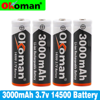 1-10PCS/LOT AA 14500 3800mah 3.7 V lithium ion rechargeable batteries and LED flashlight, free delivery