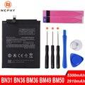Оригинальный аккумулятор Nephy BN31 BN36 BM36 BM49 BM50 для телефона Xiaomi Mi A1 A2 5X 5S 6X Max 2 Redmi S2 Note 5A Pro, сменные инструменты
