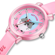 KDM Fashion Cute Style Pretty Girl Cartoon Mouse Childrens Watches Kids Student Waterproof Leather Strap Quartz Wrist