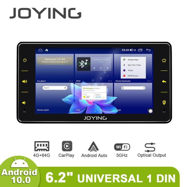 "JOYING 6.2 ""라디오 pantalla 1 din 유니버설 안드로이드 10 Autoradio 오디오 4GB + 64GB 멀티미디어 Carplay 테이프 레코더 광학 출력"