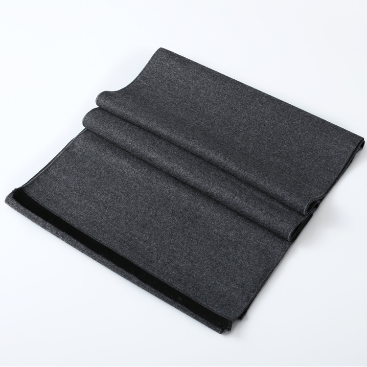Autumn And Winter New Style Double-Sided Faux Cashmere Scarf Men-Style Long Thick Warm Solid Color Versatile Scarf Wholesale