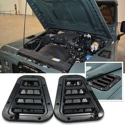 1 Pair Car Front Bonnet Vents Hood side trim cover steel air flow intake scoop vent snow cover for Land Rover Defender
