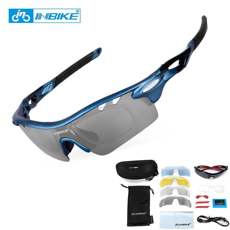 INBIKE Polarized Cycling Bike Sun Glasses Outdoor Sports Bicycle Bike Sunglasses TR90 Goggles Eyewear 5 Lens Bicycle Accessory