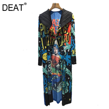 DEAT Trench lungo donna pieghettato Hitcolor Cartoon Letter High Street risvolto 2021 New Autumn Fashion abbigliamento oversize HT764