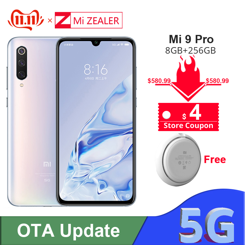 Xiao mi mi 9 Pro 5G Snapdargon 855 Plus 8 go RAM 256 go ROM 48MP AI caméra 4000 mAh batterie Smartphone