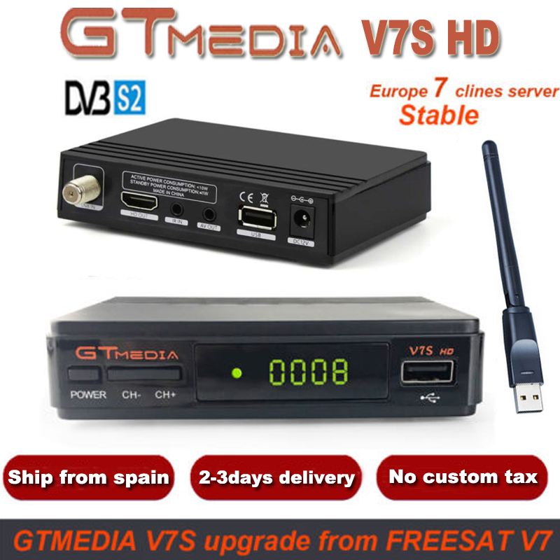 GTMedia V7S HD Récepteur Satellite Numérique DVB-S2 V7S HD 1080P Mise À Niveau Freesat V7 + 1 An Europe 7 Clines Serveur