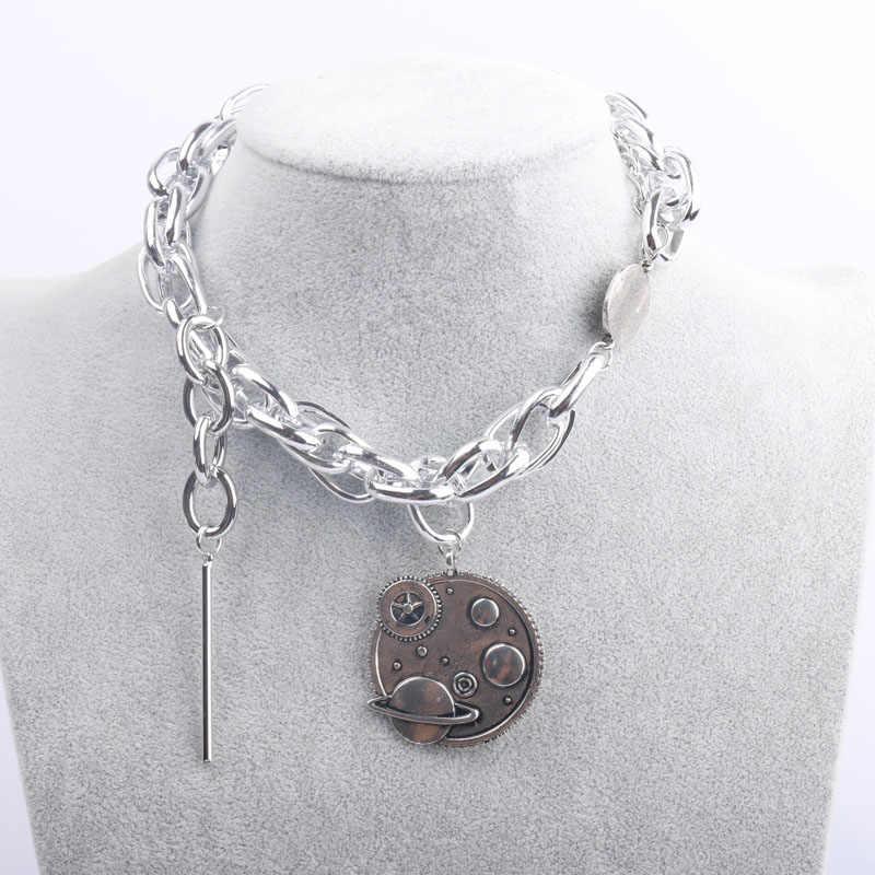 HUANZHI 2019 nowy Hip Hop planeta biegów srebrzysty Metal gruby łańcuch naszyjnik dla kobiet mężczyzn dziewczyny Party biżuteria punkowa ciemny wiatr prezenty