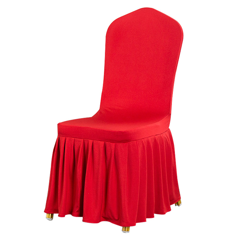 Chiar Cover With Skirt All Around The Chair Bottom Spandex Skirt Cloth Cover For Wedding Party Decoration Banquet Chair Covers