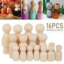 16/20/37/60 pçs fantoche de madeira peg bonecas família cinco pessoas diy artesanato brinquedos inacabados skids pintado doodle ornamentos de cor natural