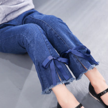 Fashion Girls Denim Bell-bottoms Solid Childrens Clothing Autumn Jeans Kids Vintage 4 5 7 9 11 12Y Leggings