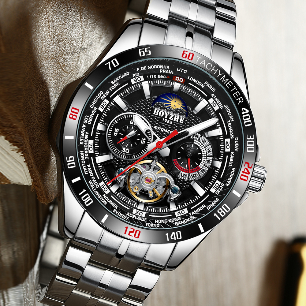 BOYZHE Sport Watch Mechanical Watch Waterproof Full Stainless Tourbillon Moon Phase Fashion Wristwatch Reloj Hombre Men Watches