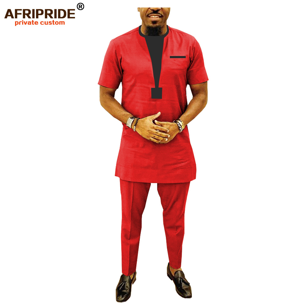 2019 African Men Clothing Traditional Set Dashiki Shirt And Ankara Pants Casual Suit Attire Blue Plus Size AFRIPRIDE A1916021
