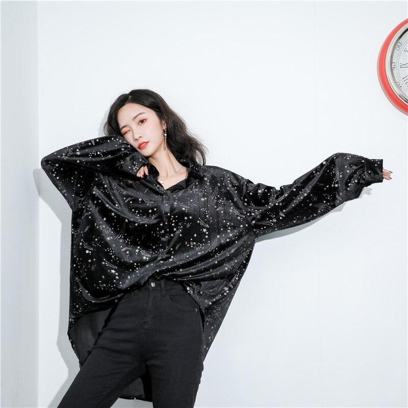 2019 Осень Зима Новая женская рубашка с принтом и отворотом блестящая свободная Модная рубашка с длинным рукавом размера плюс женская улична... - 6