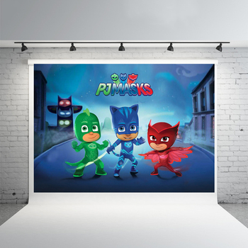 Selectable Background Size PJ Masks Party Birthday Decoration Anime Figure Catboy Owlette Gekko Cartoon Theme Layout Decorations