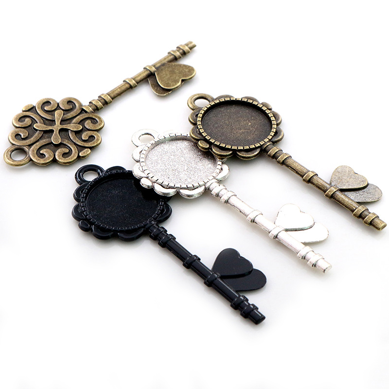 5pcs 20mm Inner Size Antique Silver Plated Bronze Black Flower Key Style Cabochon Base Setting Charms Pendant