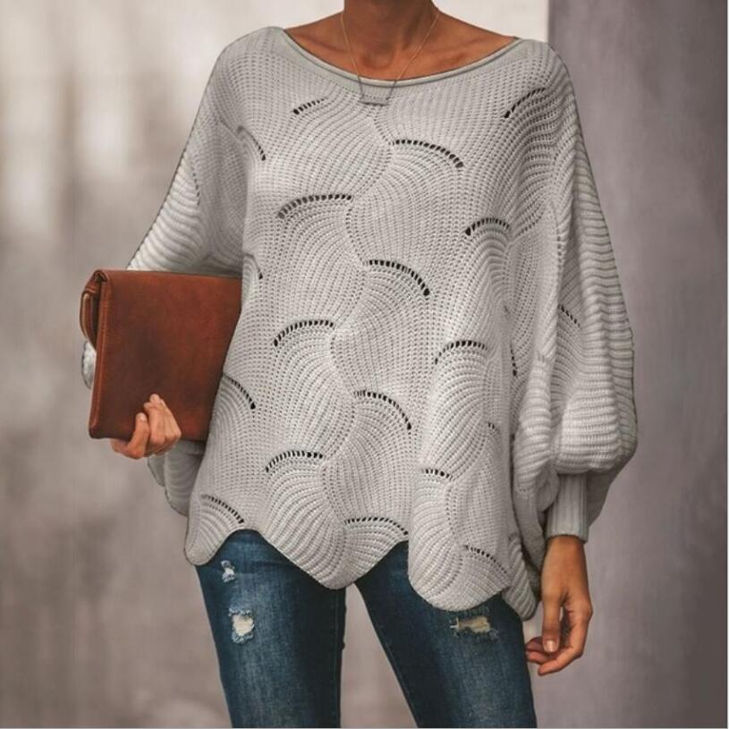 Fashion Hollow Out Women Sweaters Casual Femme Knitwear Sweaters Lantern Sleeve O Neck Loose Ruffle Women Pullover