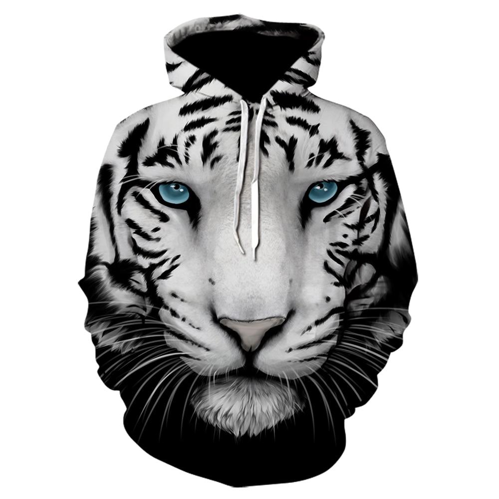 Animal Print Hoodies Plus Size 3d Blue Eyes Tiger Harajuku Sweatshirts Men Women Casual Hooded Pullover Tracksuit Jacket