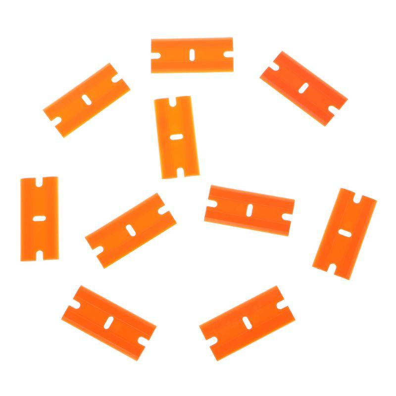 Купить с кэшбэком 10Pcs/Set Double-Edged Plastic Blades Replacement Scraper Window Car Glass Glue Tape Remover Safety Sticker Decals Removal Tool