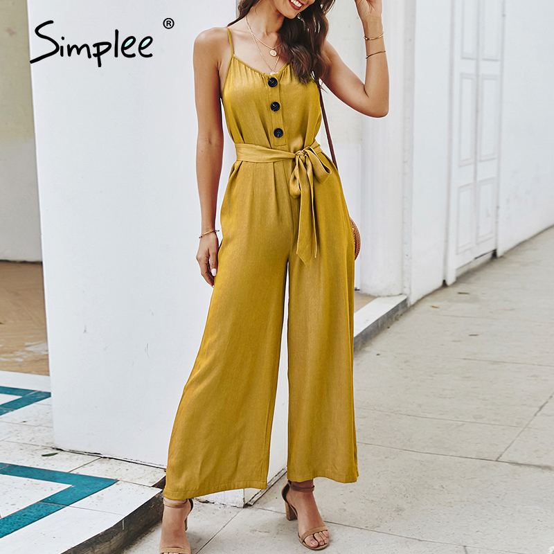 Simplee Casual Sash Women Jumpsuit Romper Spaghetti Straps Buttons Female Wide Leg Jumpsuits Spring Summer Loose Ladies Overalls