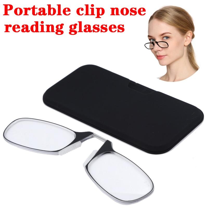 Безногий зажим для носа очки для чтения для Для мужчин и Для женщин Для мужчин Портативный ультра-тонкий бумажник очки можно прикрепить к мо...