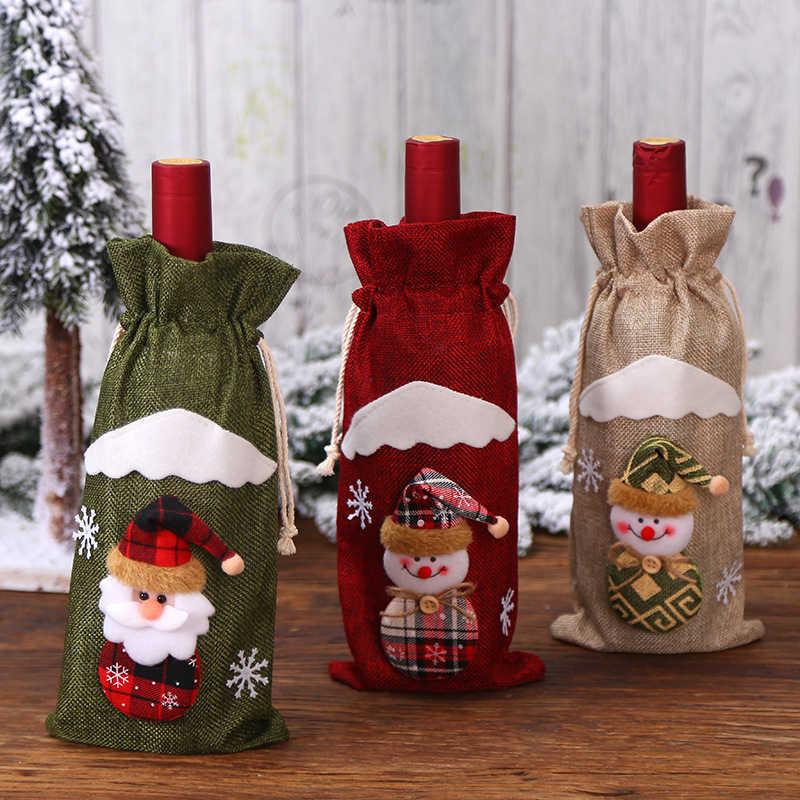 1pc 만화 산타 클로스 엘크 크리스마스 와인 병 가방 커버 해피 뉴 이어 파티 샴페인 홀더 홈 파티 테이블 장식 선물