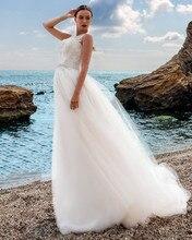 Ализе Паффи vestido де noiva элегантный лодка-образным вырезом пляж тонкая аппликация из бисера мягкий тюль свадебное платье на заказ свадебные платья