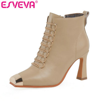 ESVEVA 2020 Women Shoes Winter Ankle Boots Pointed Toe Leather+PU Zipper High Heel Lace Up Motorcycle Platform Boot Size 34-43