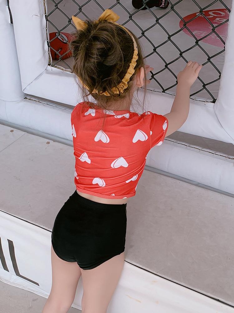 Children Split Type Two-Piece Set Cute Red Heart GIRL'S Swimwear Short Sleeve Sports Girls Children Hot Springs Bathing Suit