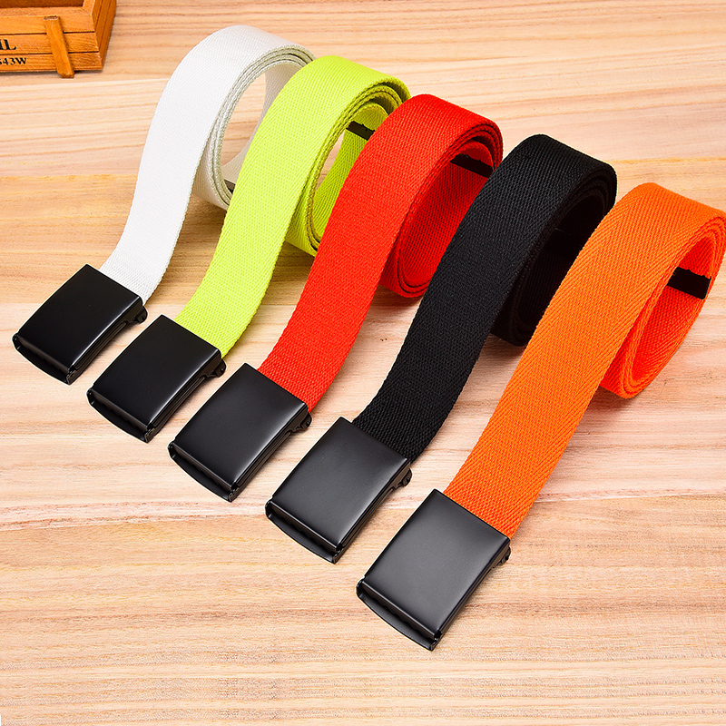 Unisex Tactical Belt Top Quality 3.8 Cm Wide Casual Canvas Red Belt Outdoor Automatic Buckle Men Black Belt White Orange Color