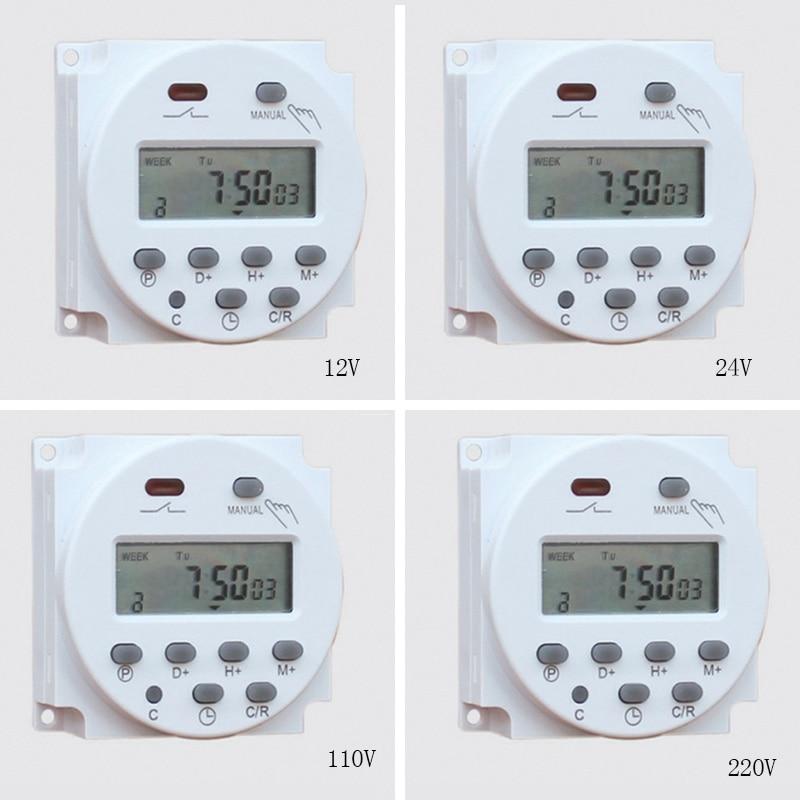 1.6 pouces écran LCD numérique 7 jours minuteries programmables interrupteur 12-220V heure hebdomadaire minuterie de contrôle Minute avec fonction compte à rebours