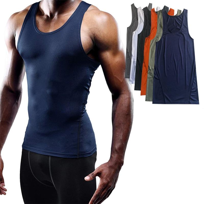 Gym Men/'s Muscle Sleeveless Tank Top Compression Bodybuilding Sport Fitness Vest
