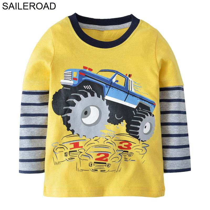 SAILEROAD Cartoon Tractor Vehicle Boys Long Sleeve Tshirt Cotton Children's T-shirt Girl Long Sleeve Tops Autumn Baby Clothes