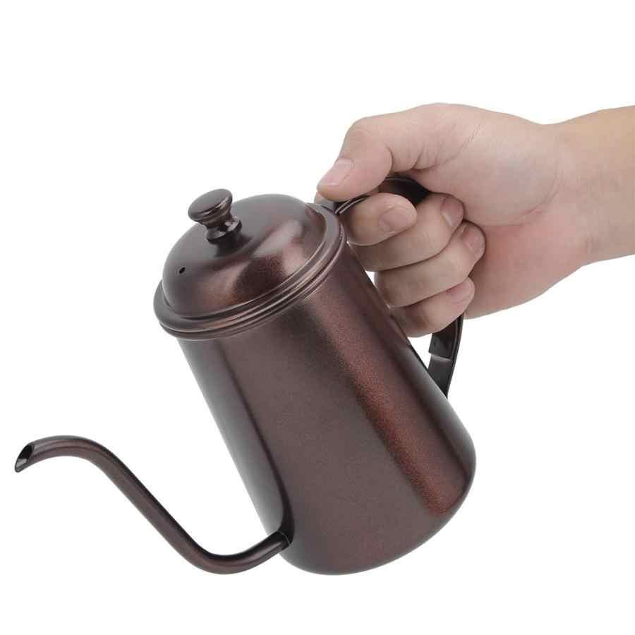 650ml Per Uso Domestico Portatile In Acciaio Inox Canna Lunga Mano Bollitore Caffè Pentola con Coperchio Caffè Italiano Moka Per Caffè Espresso