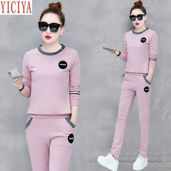 Pink Two 2 Piece Set Tracksuits Women Outfits Top and Pants Suits Plus Size Large Co-ord Set Sweatsuit Autumn Winter Clothes pink shining tracksuits women two piece set spring plus size hoodie top and pants set suits casual bodcon 2 piece set