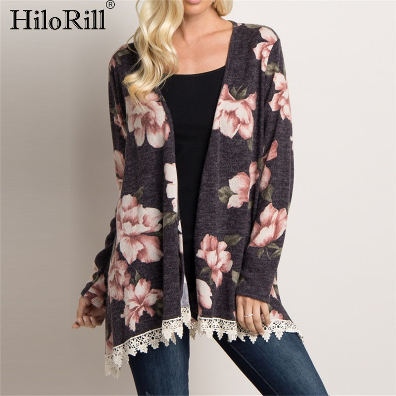 Cardigan Sweater Women 2020 Fashion Lace Patchwork Floral Printed Leisure Cardigan Autumn Long Sleeve Casual Elegant Top