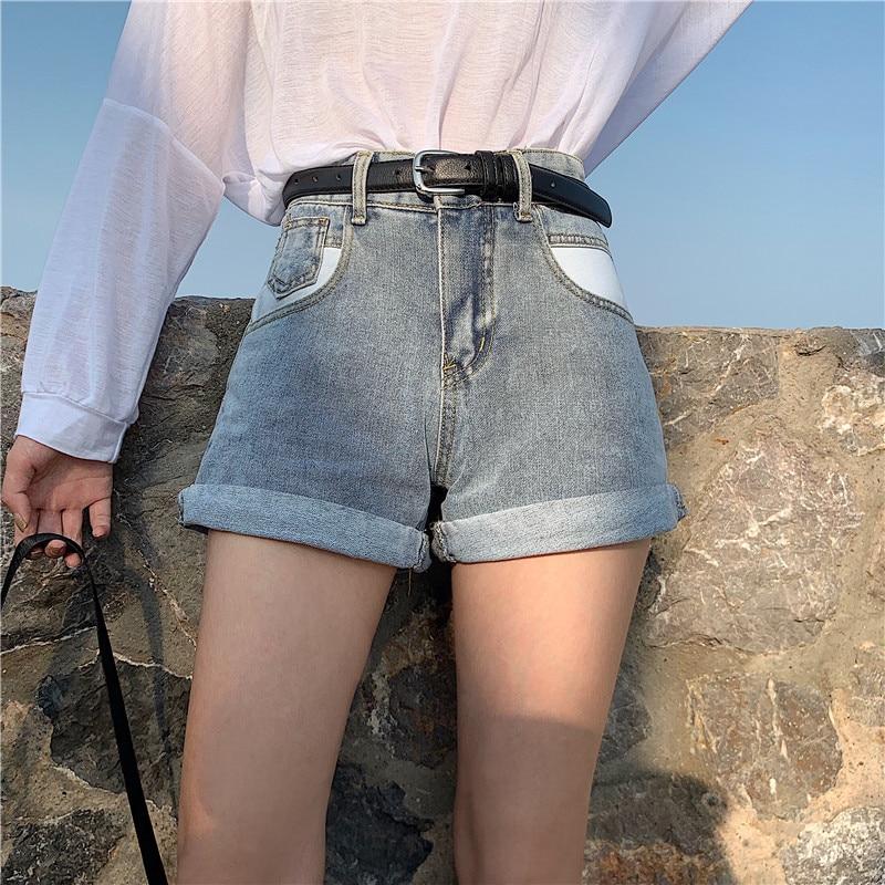 Photo Shoot 2019 WOMEN'S Dress Summer Versatile Slimming Crimping Pocket Jeans Shorts Women's