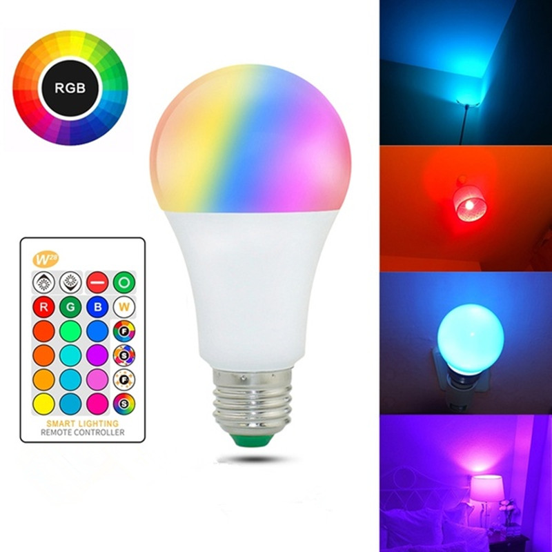 E27 Rgb Led Bulb Dimmable Light 220v 5W 10W 15W Colored LED Lampade With Remote Control+Memory Function