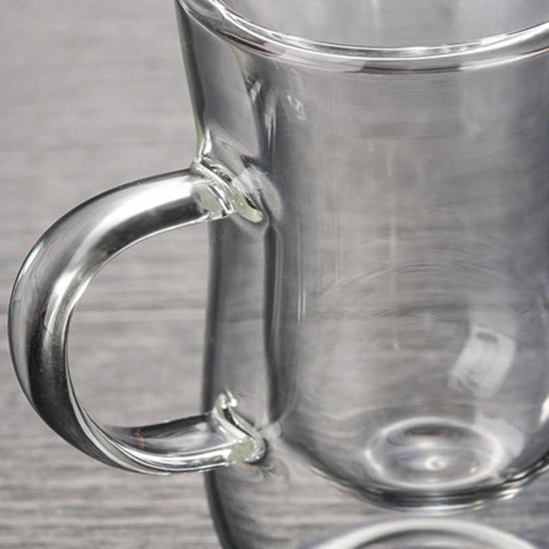 80Ml 유럽 더블 커피 머그잔 내열성 이중 유리 카푸치노 컵 밀크 컵 주스 컵 핸들이있는 새로운 카페 오피스