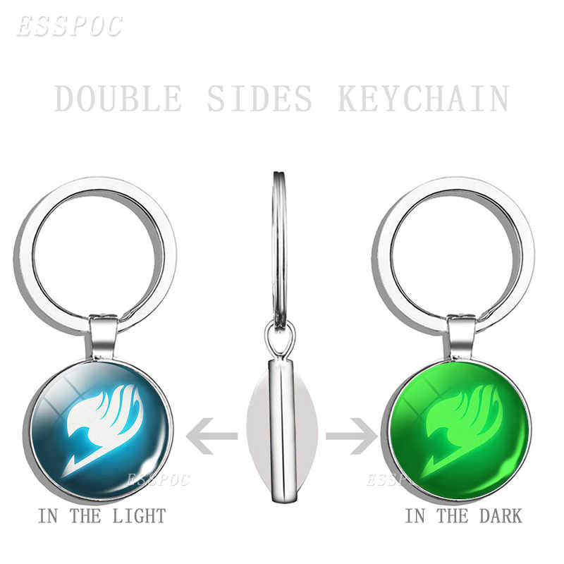 LLavero de cuero/madera/plata llavero de cola de hada llavero luminoso de cristal con logotipo de gremio cabujón para regalo para llavero de Anime