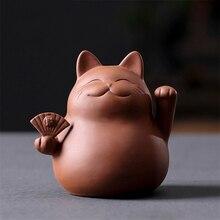 Purple Clay Lucky Cat Tea Pet Handmade Cute Small Animal Figurines Creative Ceramic Crafts Teahouse Table Decoration Ornaments