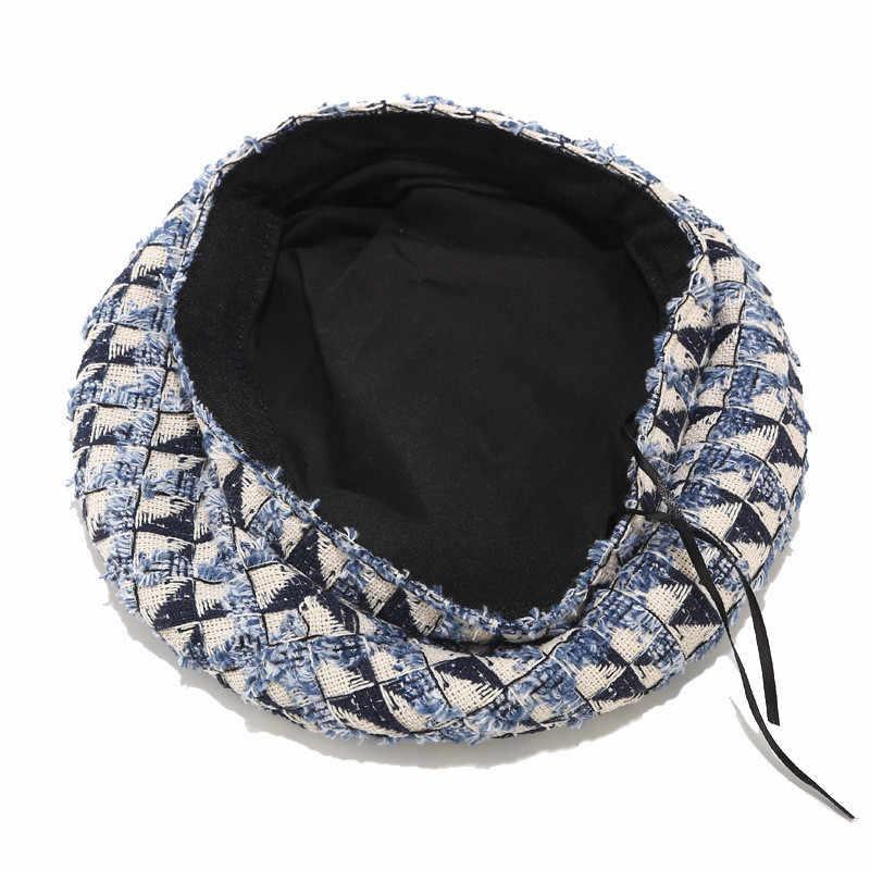 シックなチェック柄ベレー帽女性の英国のレトロ野生のファッション画家帽子女性のストリートトレンド小さな香り風冬ベレー AN1453