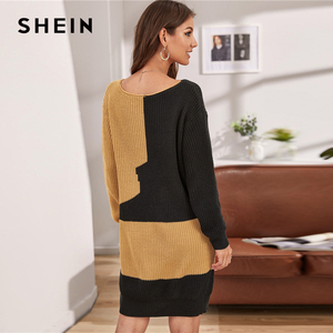 Image 2 - SHEIN Multicolor V Neck Two Tone Casual Loose Sweater Dress Without Belt Women 2019 Autumn Long Sleeve Short Straight Dresses